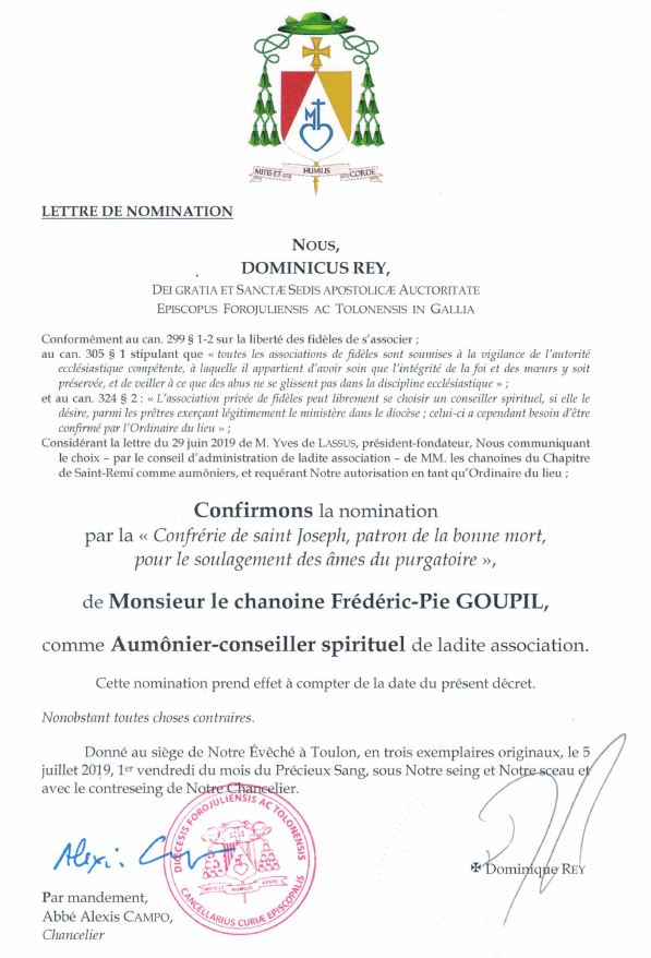 Lettre de nomination